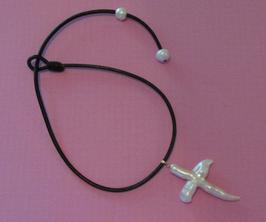 Ref.: 00087 Collar de Cuero con dije de perla