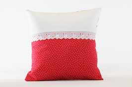 Kissen mit Spitze rot/rosa streifen