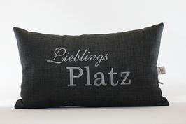 "Kissen ""Lieblings Platz"" grau"