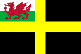 Saint David Flag with Welsh Red Dragon