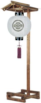 盆提灯:門提灯 丸 絹無地 14号/屋形焼杉(小)セット