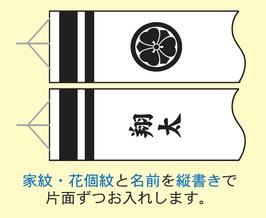 商品名:家紋または花個紋と名前入れ(縦書き)