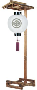 盆提灯:門提灯 丸 絹無地 13号/屋形焼杉(小)セット