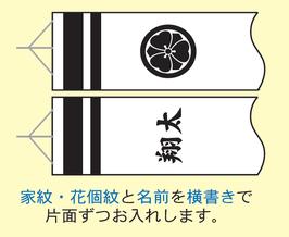 商品名:家紋または花個紋と名前入れ(横書き)