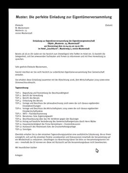 Muster: Einladung zur EV inkl. Erläuterung zur Tagesordnung