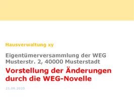 Präsentation zur Änderungen der WEG-Novelle für die EV