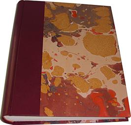 Album foto in pelle bordeaux e carta marmorizzata