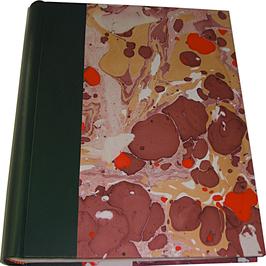 Album foto in pelle verde e carta marmorizzata