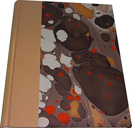 Album foto in pelle beige e carta marmorizzata