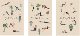 3 Cartes de Yoga illustrées