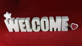 Beton, Steinguss Buchstaben 3D Deko Stern Namen WELCOME als Geschenk verpackt!