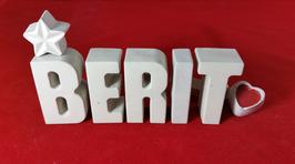 Beton, Steinguss Buchstaben 3D Deko Stern Namen BERIT als Geschenk verpackt!