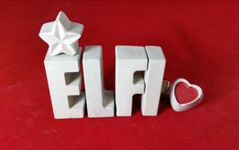 Beton, Steinguss Buchstaben 3D Deko Namen ELFI als Geschenk verpackt mit Stern und Herzklammer!