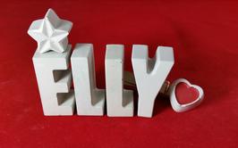 Beton, Steinguss Buchstaben 3D Deko Namen ELLY als Geschenk verpackt mit Stern und Herzklammer!