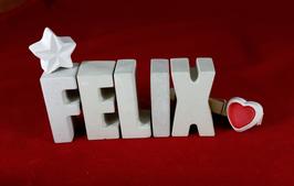 Beton, Steinguss Buchstaben 3D Deko Namen FELIX als Geschenk verpackt!