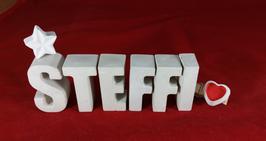 Beton, Steinguss Buchstaben 3D Deko Namen STEFFI als Geschenk verpackt mit Stern und Herzklammer!