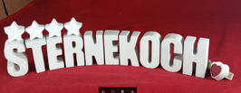 Beton, Steinguss Buchstaben 3D Deko Stern Namen STERNEKOCH als Geschenk verpackt!