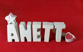 Beton, Steinguss Buchstaben 3D Deko Namen ANETT als Geschenk verpackt!