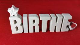 Beton, Steinguss Buchstaben 3D Deko Stern Namen BIRTHE als Geschenk verpackt!