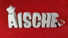 Beton, Steinguss Buchstaben 3D Deko Stern Namen AISCHE als Geschenk verpackt!
