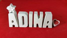 Beton, Steinguss Buchstaben 3D Deko Stern Namen ADINA als Geschenk verpackt!
