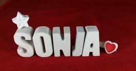 Beton, Steinguss Buchstaben 3D Deko Namen SONJA als Geschenk verpackt mit Stern und Herzklammer!