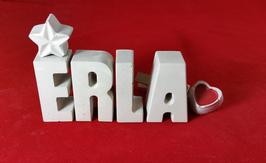 Beton, Steinguss Buchstaben 3D Deko Namen ERLA als Geschenk verpackt mit Stern und Herzklammer!