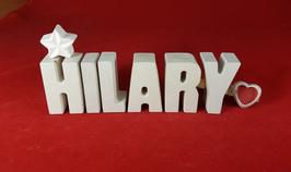 Beton, Steinguss Buchstaben 3D Deko Namen HILARY als Geschenk verpackt mit Stern und Herzklammer!