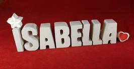 Beton, Steinguss Buchstaben 3D Deko Namen ISABELLA als Geschenk verpackt mit Stern und Herzklammer!