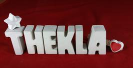 Beton, Steinguss Buchstaben 3D Deko Namen THEKLA als Geschenk verpackt mit Stern und Herzklammer!
