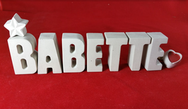 Beton, Steinguss Buchstaben 3D Deko Stern Namen Babette als Geschenk verpackt!
