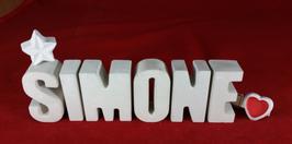 Beton, Steinguss Buchstaben 3D Deko Namen SIMONE als Geschenk verpackt mit Stern und Herzklammer!