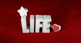 Beton, Steinguss Buchstaben 3D Deko Stern Namen LIFE als Geschenk verpackt!