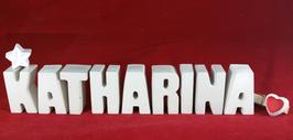 Beton, Steinguss Buchstaben 3D Deko Namen KATHARINA als Geschenk verpackt mit Stern und Herzklammer!