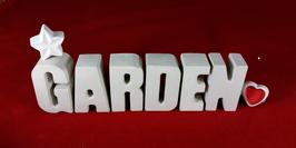 Beton, Steinguss Buchstaben 3D Deko Stern Namen GARDEN als Geschenk verpackt!