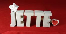 Beton, Steinguss Buchstaben 3D Deko Namen JETTE als Geschenk verpackt mit Stern und Herzklammer!