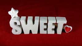 Beton, Steinguss Buchstaben 3D Deko Stern Namen SWEET als Geschenk verpackt!