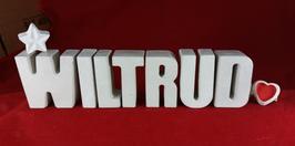 Beton, Steinguss Buchstaben 3D Deko Namen WILTRUD als Geschenk verpackt mit Stern und Herzklammer!