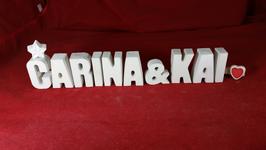 Beton, Steinguss Buchstaben 3D Deko Stern Namen CARINA & KAI als Geschenk verpackt!