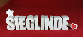 Beton, Steinguss Buchstaben 3D Deko Namen SIEGLINDE als Geschenk verpackt mit Stern und Herzklammer!