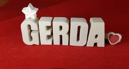 Beton, Steinguss Buchstaben 3D Deko Namen GERDA als Geschenk verpackt mit Stern und Herzklammer!