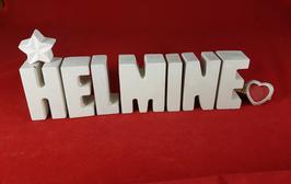 Beton, Steinguss Buchstaben 3D Deko Namen HELMINE als Geschenk verpackt mit Stern und Herzklammer!