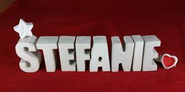 Beton, Steinguss Buchstaben 3D Deko Namen STEFANIE als Geschenk verpackt mit Stern und Herzklammer!