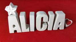 Beton, Steinguss Buchstaben 3D Deko Namen ALICIA als Geschenk verpackt!