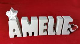 Beton, Steinguss Buchstaben 3D Deko Namen AMELIE als Geschenk verpackt!