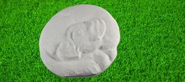 Hund Motiv Boxer aus weißem Beton
