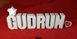 Beton, Steinguss Buchstaben 3D Deko Namen GUDRUN als Geschenk verpackt mit Stern und Herzklammer!