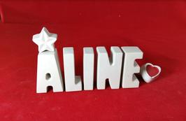 Beton, Steinguss Buchstaben 3D Deko Stern Namen ALINE als Geschenk verpackt!