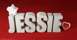 Beton, Steinguss Buchstaben 3D Deko Namen JESSIE als Geschenk verpackt mit Stern und Herzklammer!