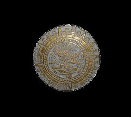 Beton, Steinguss Relief Maya Kalender Gold patiniert
